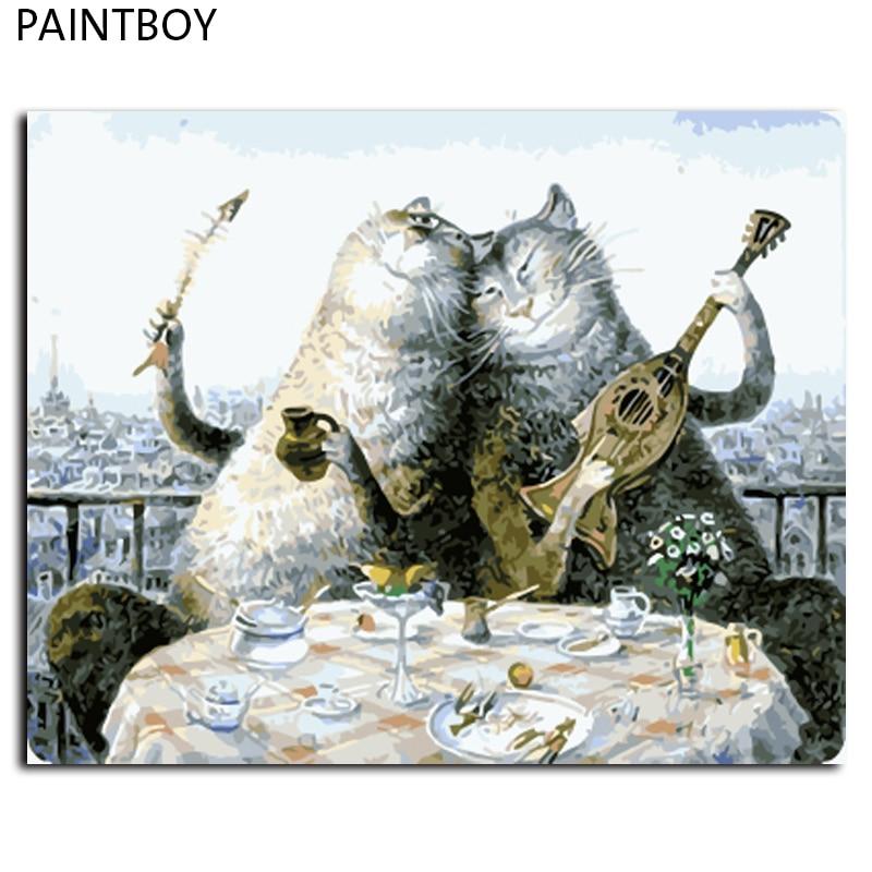 Heißer Verkauf Gerahmte Bilder Malen Nach Zahlen Schöne Katzen ...