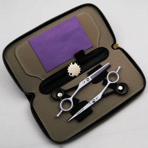 Image 5 - Профессиональные Парикмахерские ножницы 5,5/6 дюймов, набор ножниц для стрижки и филировки, парикмахерские ножницы высокого качества, индивидуальные черно белые Стили