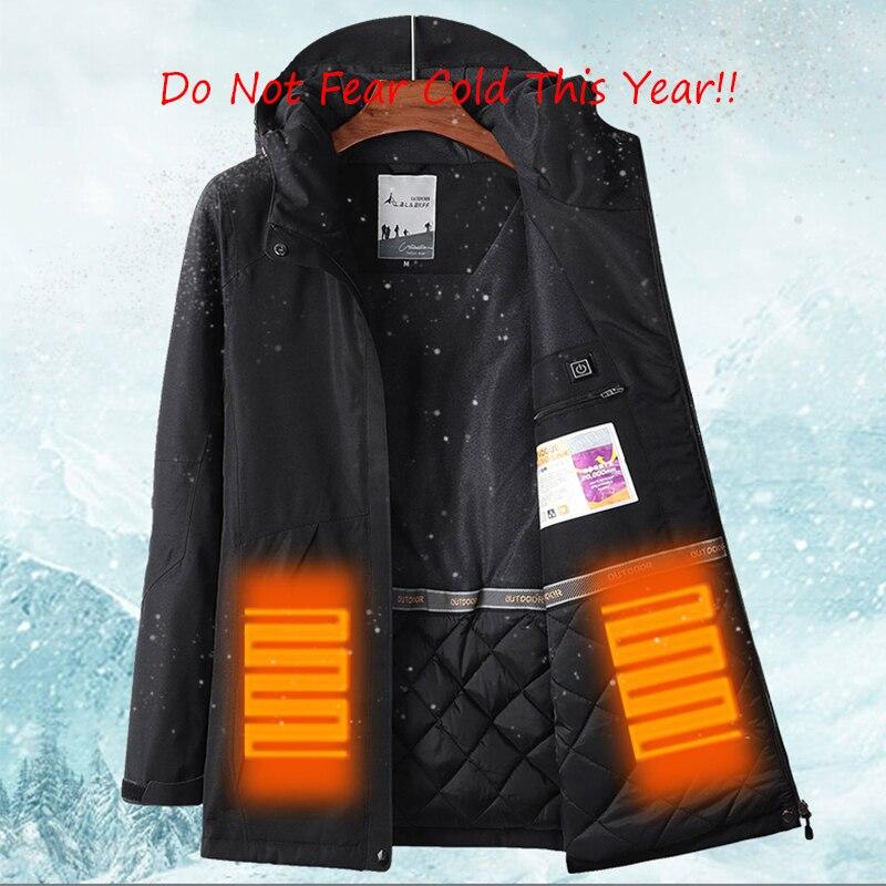 Hommes femmes hiver épais USB chauffage coton vestes extérieur imperméable coupe-vent randonnée Camping Trekking escalade ski manteaux - 2