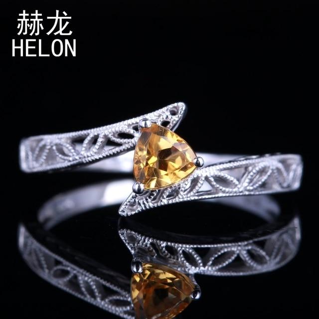 Solid 10k White Gold 4 5mm Trillion Cut 100 Genuine Citrine Engagement Fine Ring Vintage Art Deco Jewelry Wedding Women