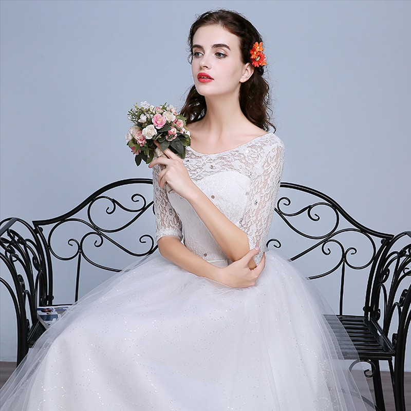 Fashion Plus Size Wedding Dress 2016 Women Lace Sweetheart Half Sleeve Vestidos De Noiva WD2672 (12)
