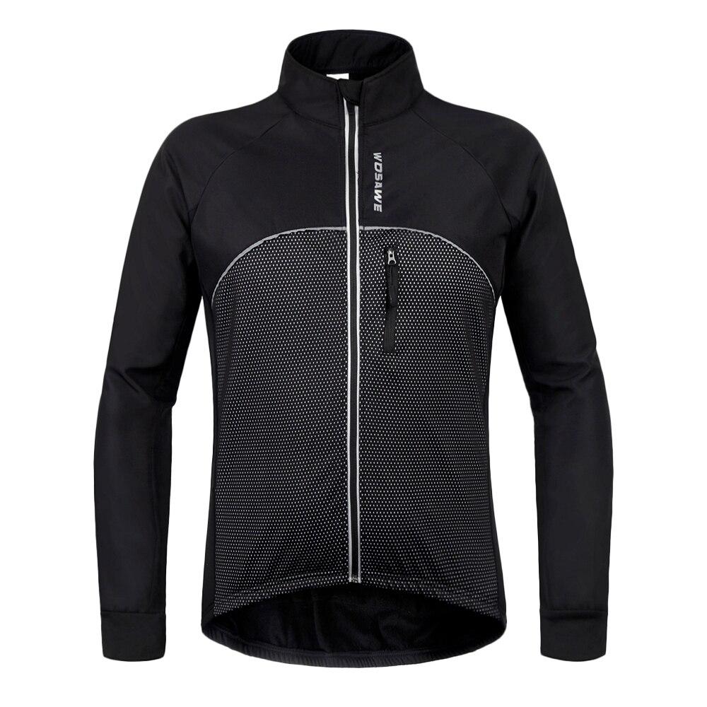 где купить 2017 WOSAWE Men Black Thermal Cycling Jacket Winter Fleece Bicycle Clothing Windproof Waterproof Sports Coat MTB Bike Jersey по лучшей цене