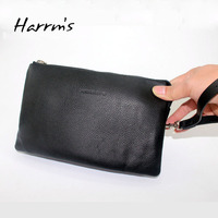 Big Size Genuine Leather Cow Leather Men S Clutch Wallets Black Color Long Business With Zipper