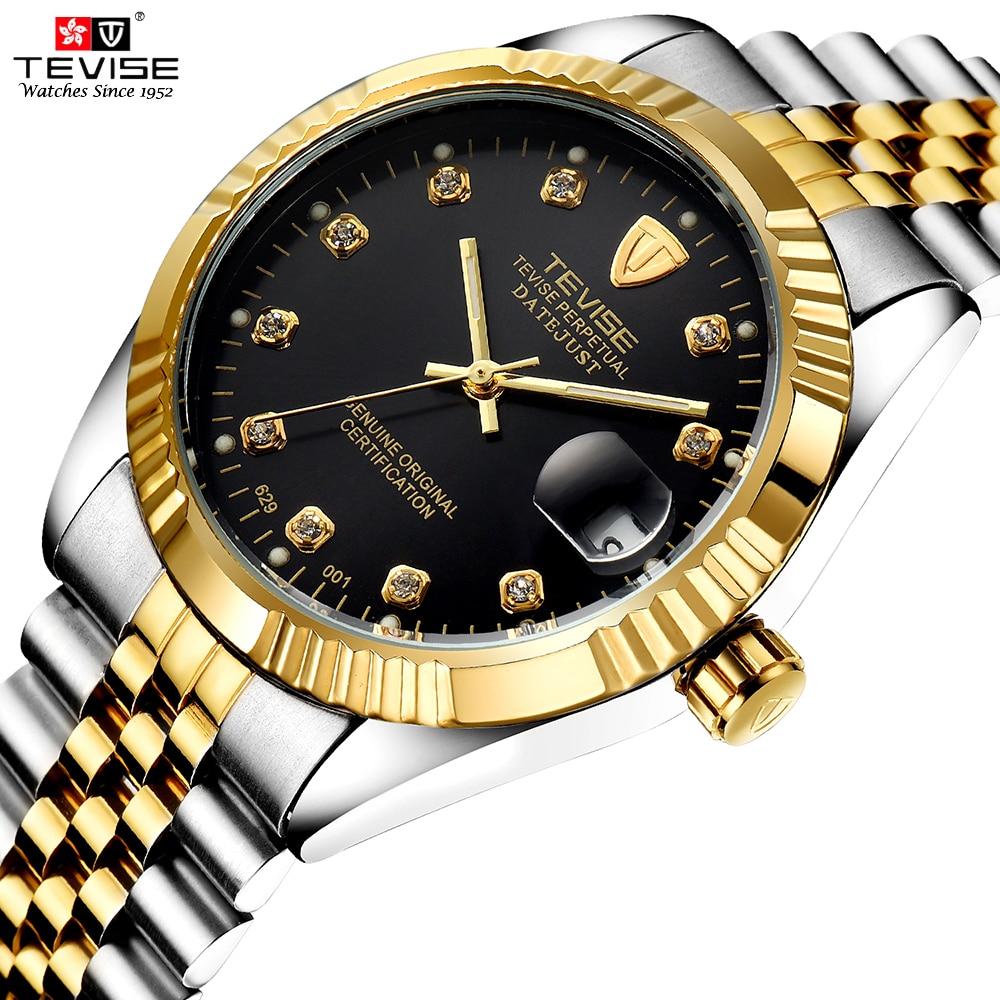 TEVISE Men Brand Date Watch Fashion Luxury Wristwatch Waterproof Semi-automatic Mechanical Watch Luminous Sport Casual Watches