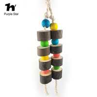 Purple Star Pet Parrot Wooden Ropes Bite Toy Hanging Cage Pendant Decor Macaw Cockatiel Parrot Climb