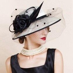 Elegant Woman Beige White Linen Wedding Church Hat with Veils and Floral Summer Wide Brim Floppy Ladies Kentucky Derby B-8141