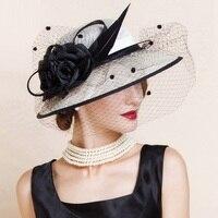 Elegant Woman Beige White Linen Wedding Church Hat with Veils and Floral Summer Wide Brim Floppy Ladies Kentucky Derby B 8141