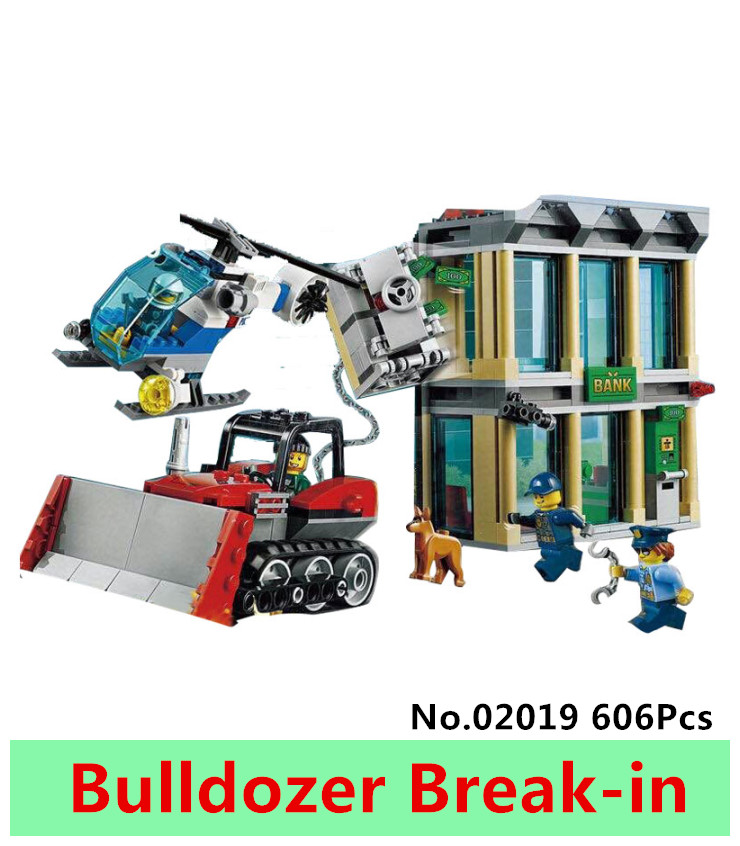 Lepin 02019 606Pcs City Series The Bulldozer Break-in set Building Blocks Bricks figure Educational Toys for children Gift 60140 lepin 02012 city deepwater exploration vessel 60095 building blocks policeman toys children compatible with lego gift kid sets