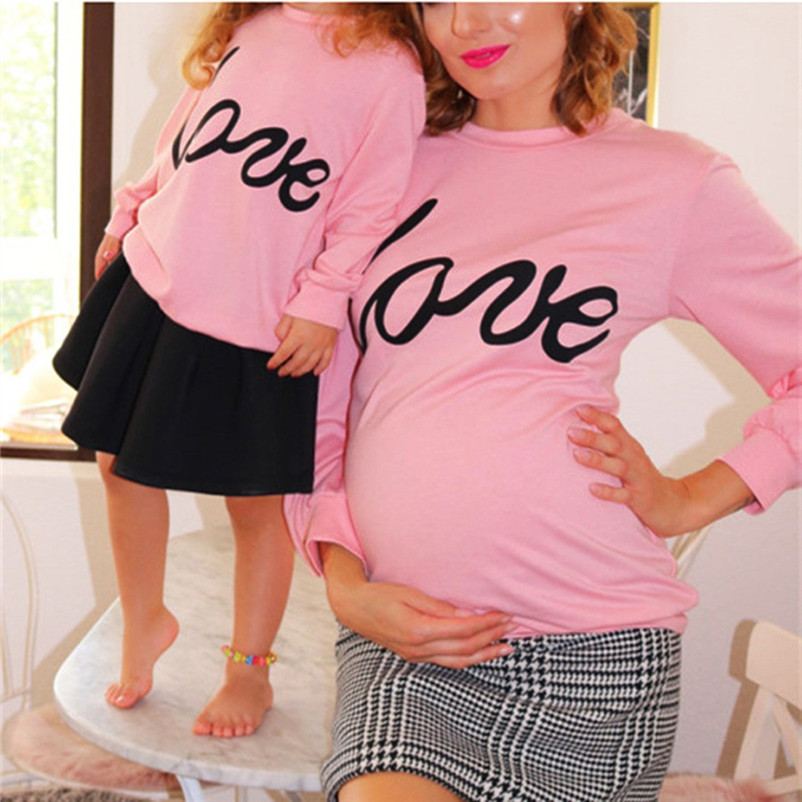 Steady Parent-child Outfit Fashion Mum Pregnant Clothes Mommy & Me Long Sleeves Letter Print Maternity Tops Robe Femme Enceinte 4no29 Traveling Blouses &shirts