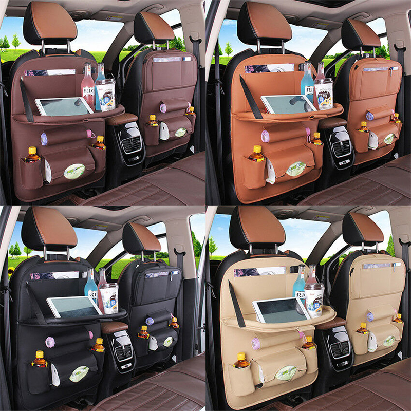 Image 3 - PU Leather Car Seat Back Bag Folding Table Organizer Pad Drink Chair Storage Box Travel Stowing Tidying Automobile Accessories-in Stowing Tidying from Automobiles & Motorcycles