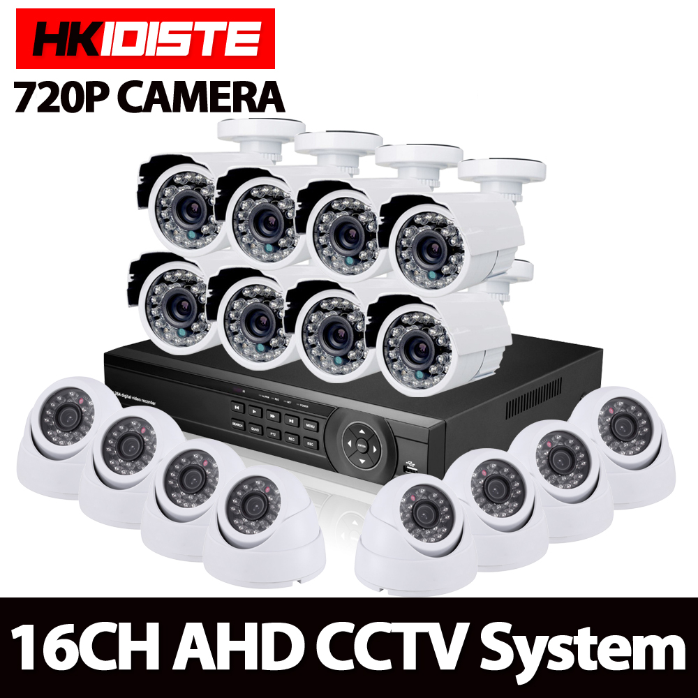 16CH 1080P AHD DVR Kit With 1.0MP IR NightVision CCTV 8pcs outdoor+8pcs Indoor AHD 720P Camera Home Security CCTV Camera System16CH 1080P AHD DVR Kit With 1.0MP IR NightVision CCTV 8pcs outdoor+8pcs Indoor AHD 720P Camera Home Security CCTV Camera System