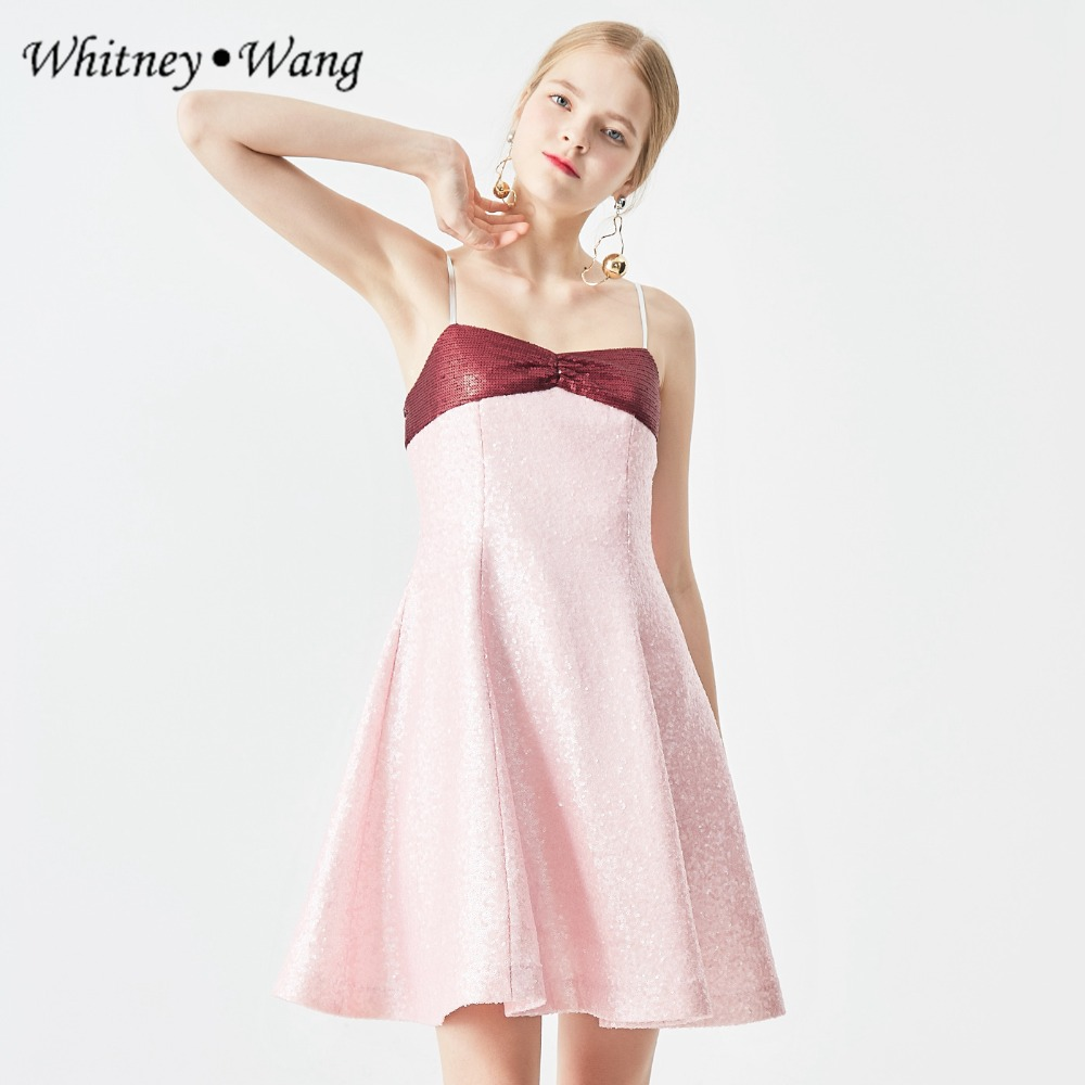 2893746e4bd WHITNEY-WANG-2018-Automne-Hiver-Mode-Streetwear-Doux-Couleurs-Contraste-Spaghetti-Strap-Paillettes- Robe-Femmes-Robes.jpg