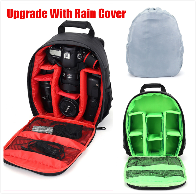 Rain Cover+New Pattern DSLR Camera Bag Backpack Video Photo Bag for Camera d3200 d3100 d5200 d7100 Small Compact Camera Backpack