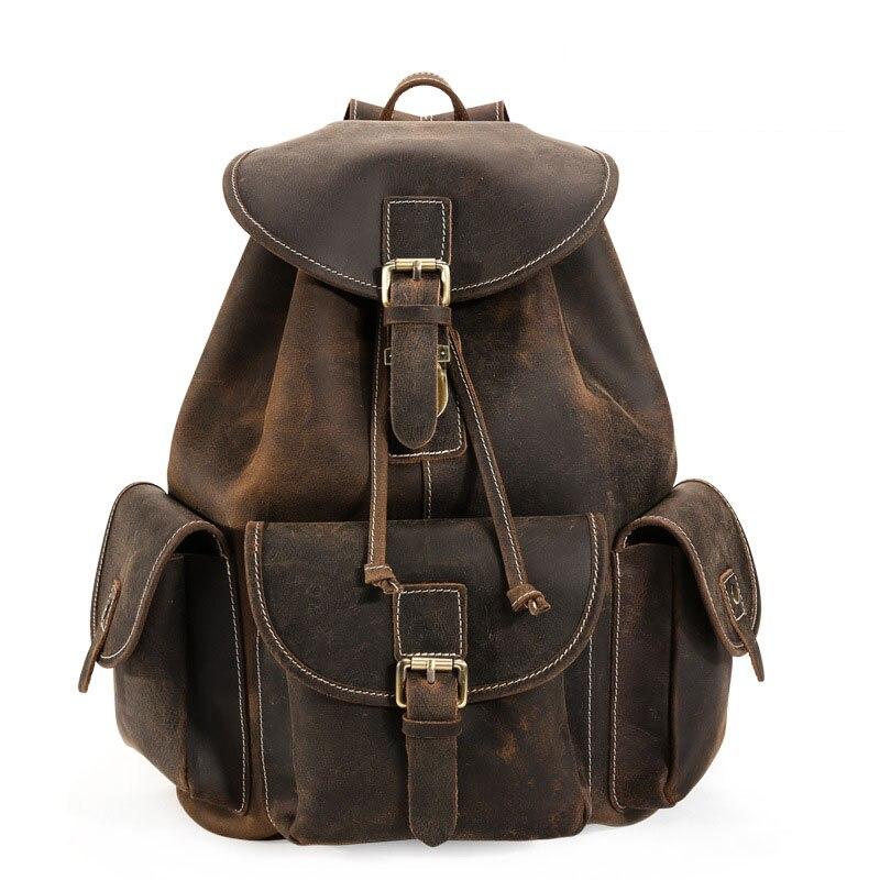 Мужской рюкзак из натуральной кожи в стиле ретро, универсальный рюкзак для путешествий, вместительный рюкзак на шнурке, 2019