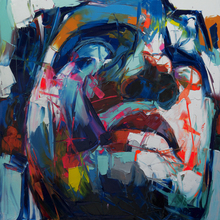 man Face oil painting on canvas Francoise Nielly wall art pictures for living room Palette knife home decoration