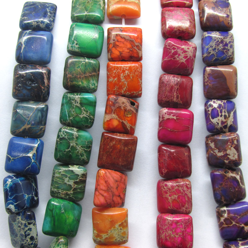 high qualtiy 40pc A String 10*10 mm Grade AAA  natural stone realy imperial jasper  cube square  jasper Beads 5 color pick C101