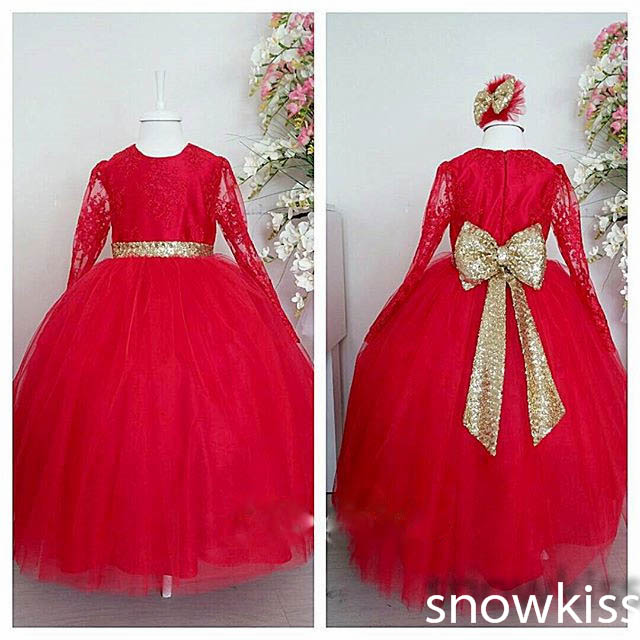 New beautiful long red lace sheer full sleeves flower girl dress with gold sequined bow sash formal wedding birthday party gowns lace long sleeves flower girl dress with butterfly decoration keyhole back blue tulle kids party ball gowns with satin sash bow