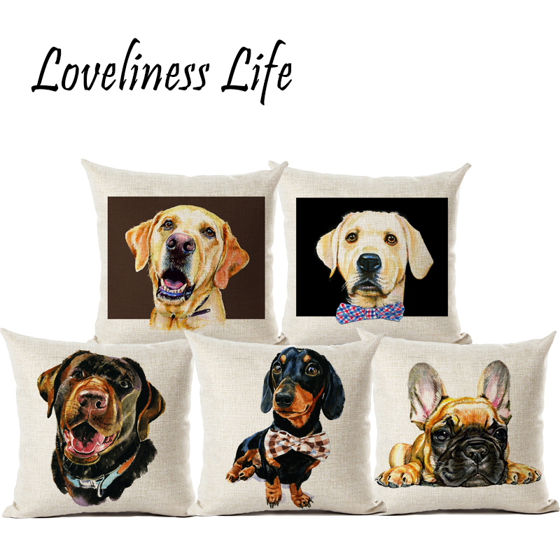 New Cushion Cover Animal French Bulldog Pug Dog Watercolor Printed Pillowcase Pillow Covers Linen Gift Home Decor Almofadas