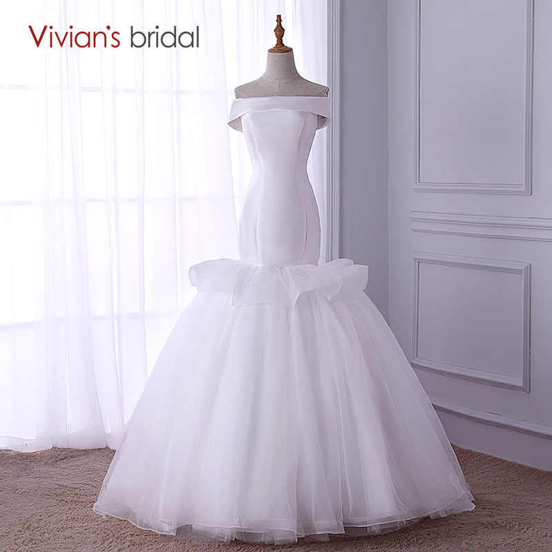 Boat Neck Mermaid Wedding Dress Off Shoulder Vivian's Bridal Satin Simple Wedding Gown Sleeveless