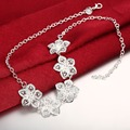 New Fashion 925 Silver Neckalces Charm Big Flower Necklace Chain For Women Jewelry Party Necklace colliers femme sautoir SPN0336