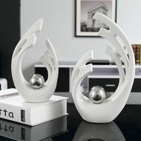 Modern European Style Silver White Ceramic Lover Home Decoration Art Crafts Wedding Gifts