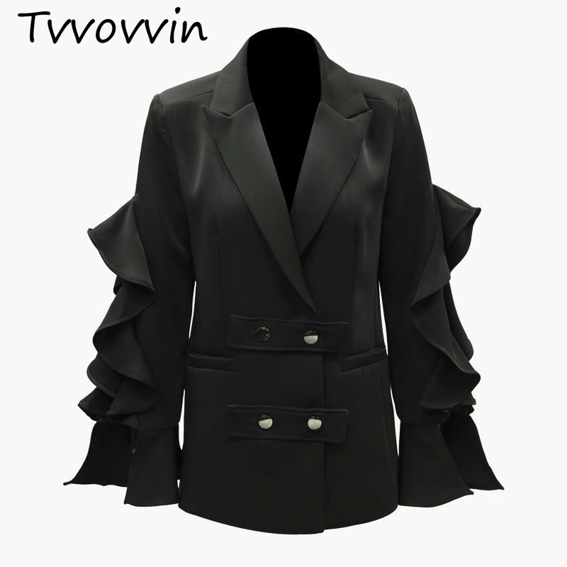 TVVOVVIN Women Blazer Lotus Leaf LongSleeves Ladies Blazer Jacket Double Breasted Blazer Women Tops Suit Coat Womens Jacket V953