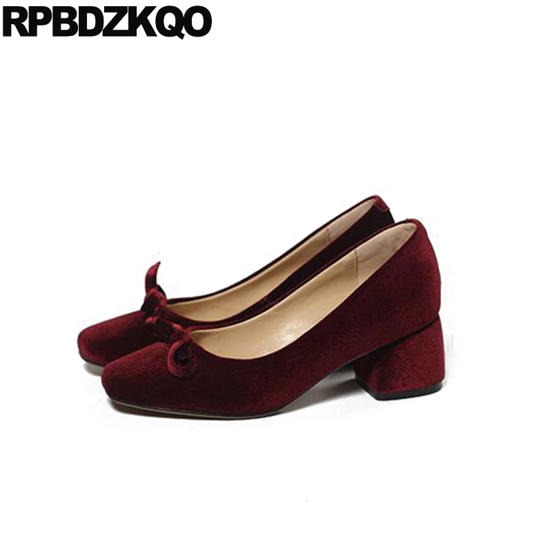 Pumps Size 4 34 Wine Red Classic Bow Block 2017 Vintage Party Shoes Square Toe 33 Ladies Velvet Medium High Heels Autumn New sandals metal strap pumps square toe beige vintage medium 2017 women shoes high heels size 33 slingback belts block chinese