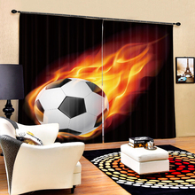 Customize 3D Curtains Cartoon Cool Kung Fu Football Pattern Blackout Fabric Children Bedroom for Living Room