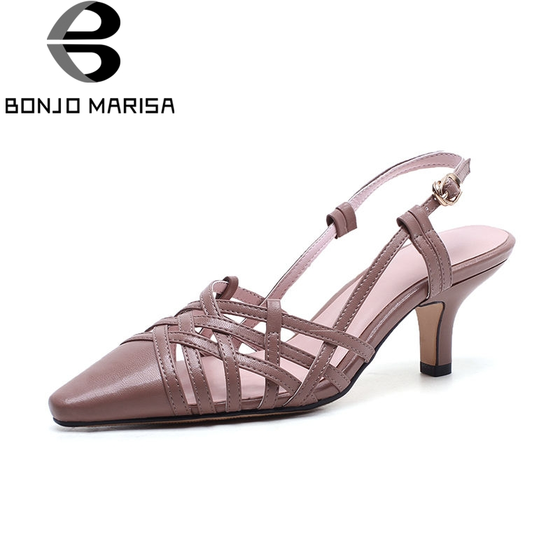 BONJOMARISA 2018 Summer Sexy Overall Genuine Leather Women Sandals Fashion Brand Breathable Pointed Toe Shose Woman High Heels