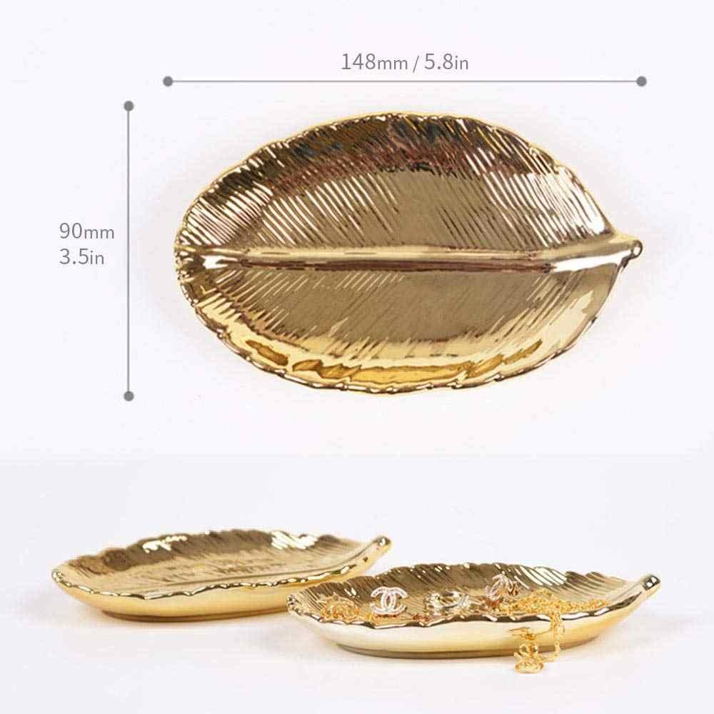 Gold Leaf Schmuck Tablett Keramik Schmuckstück Gericht Ring Ohrringe Organizer Hause Dekorative Einzugsgeschenk