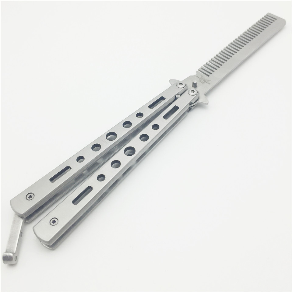 Pro Salon Stainless Steel Folding Practice Training Butterfly Balisong Style Knife Comb Tool Black,Silver Cool steel comb stainless steel cuticle removal knife tool silver