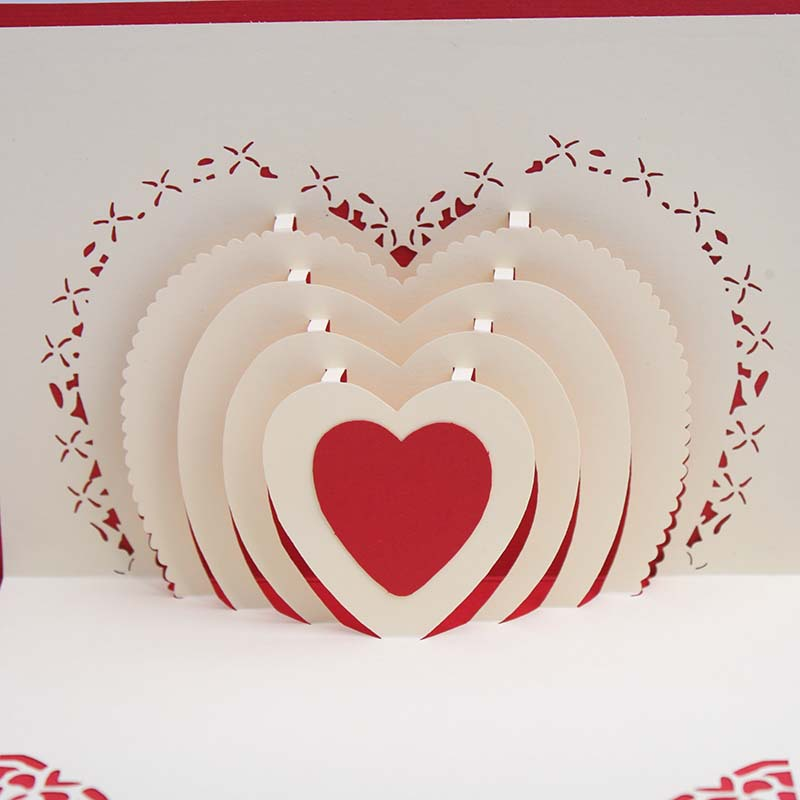 Aliexpress Buy 3D Pop Up Heart Shape Card Postcards Greeting – Heart Shaped Valentine Cards