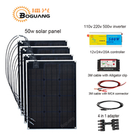 Boguang 200w solar DIY kit module cell 50w solar panel 110v 220v 500w inverter 10A controller cable MC4 connector power
