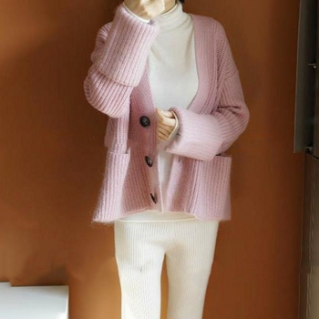 In the spring of 2018 new cardigan sweater coat sweater loose woman thickened cardigan cashmere sweater. фото