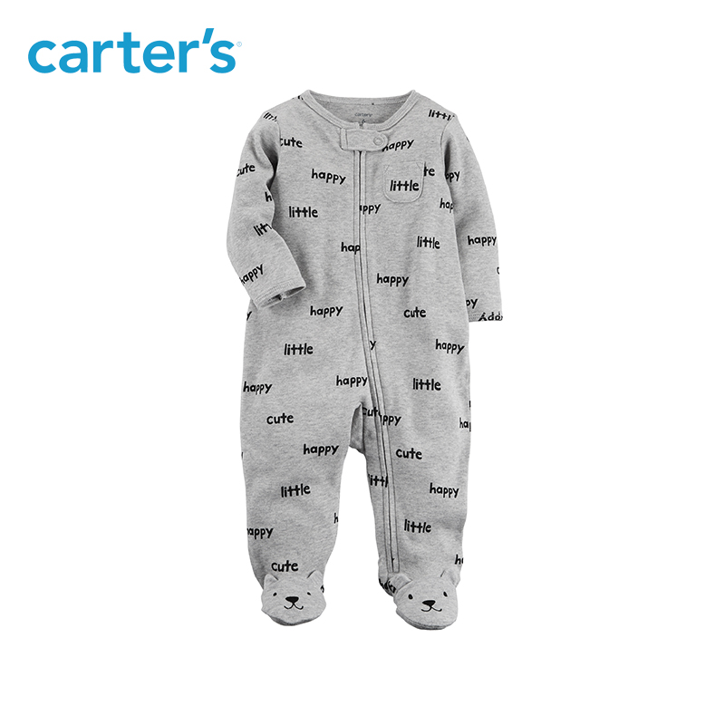 Cute slogans zip-front soft cotton bear footies one-piece Carter's baby boy clothing fall winter 115G505 1pcs cute baby panda animal coverall clothing cotton padded winter footies n01