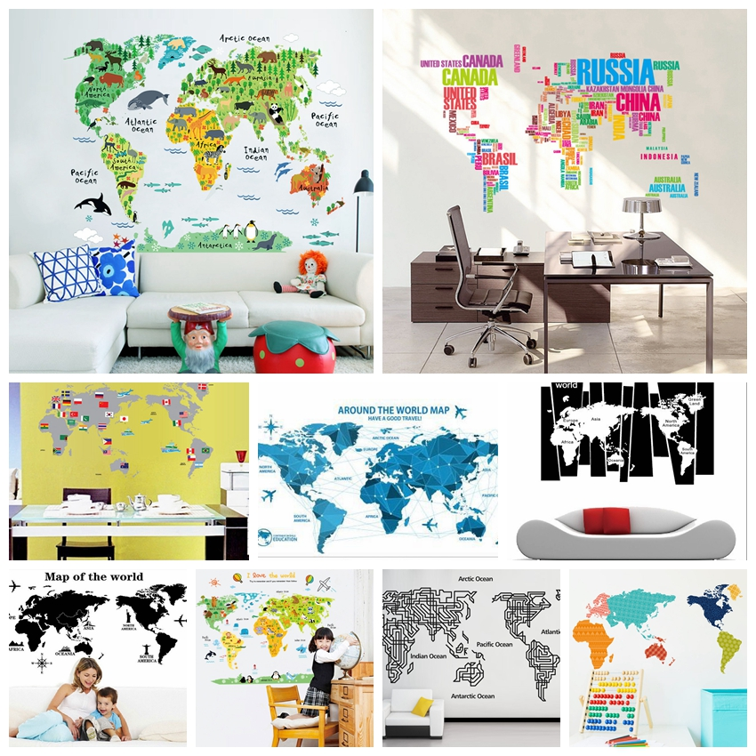 World Map Wall Stickers Living Room Home Decorations Creative Pvc Decal Mural Art Diy Office Wall