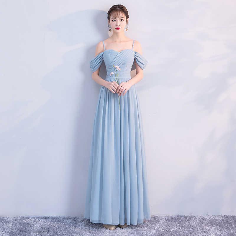 Pearl Chiffon New summer Blue Gray Simple Zipper Wedding party prom bridal Bridesmaid Dress Sister dress vestidos de festa 870