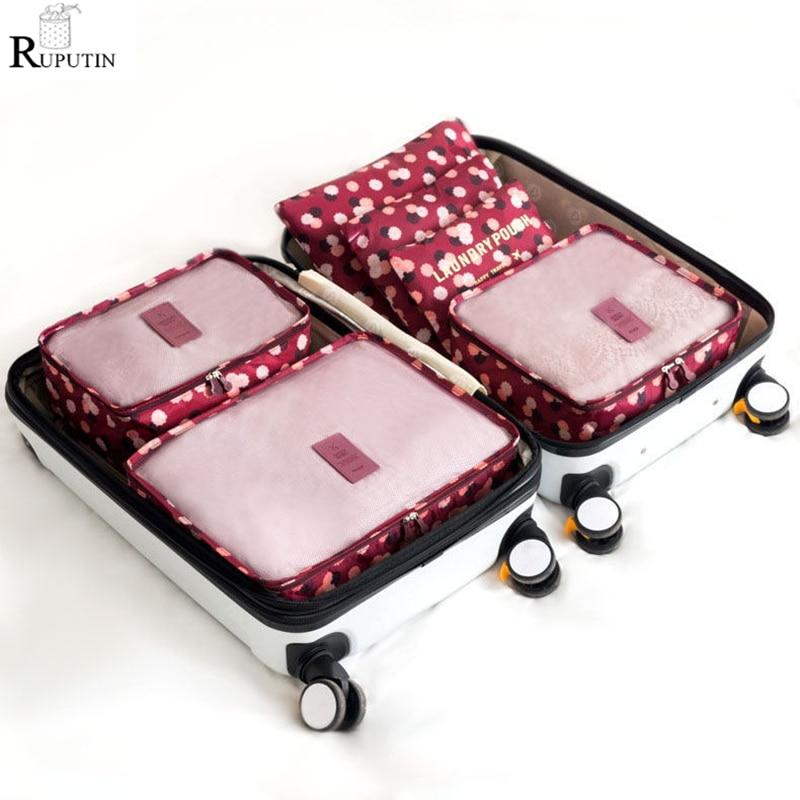 RUPUTIN 6Pcs/set Unisex Clothing Sorting Organizer Travel Mesh Bag Luggage Organizer Packing Cube Storage Bags For Clothes Bra