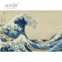 Michelangelo quebra-cabeças de madeira ukiyoe 36 visualizações do monte fuji great wave fora kanagawa hokusai brinquedos educativos pintura decoração