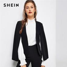 SHEIN 黒ポンチョオフィス女性ストリートマントオープンフロントブレザー 2018 秋エレガントな現代の女性の作業服女性のコートのアウターウェア