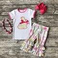 Хлопок кролик ребенок Пасха экипировка девушки ЛЕТО капри одежда цветочный печати бутик оборками с соответствующими Аксессуары ярко-розовый