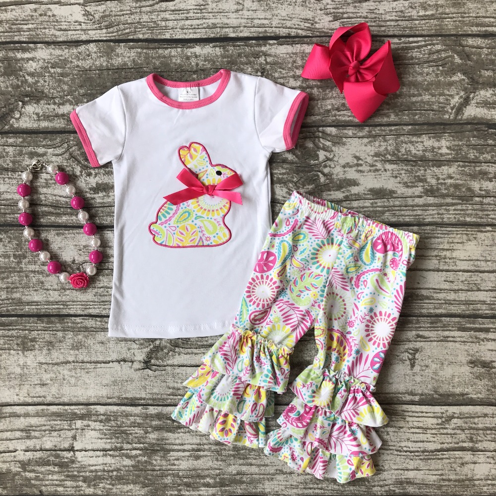 cotton bunny baby Easter outfit girls SUMMER capris clothes floral print boutique ruffles with matching Accessories