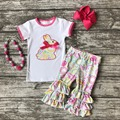 cotton bunny baby Easter outfit girls SUMMER capris clothes floral print boutique ruffles with matching Accessories hot pink
