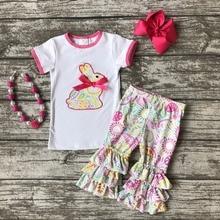 Coton lapin bébé De Pâques outfit filles D'ÉTÉ capris vêtements imprimé floral boutique ruches avec Accessoires assortis chaude rose