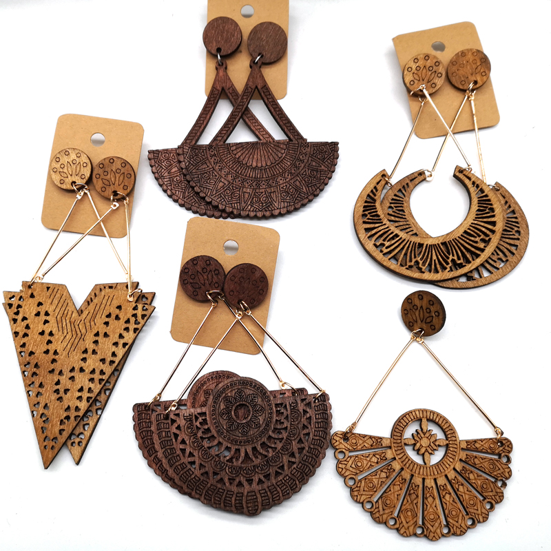 Free Shipping!!african Drop wooden earrings can mixed 5 designs