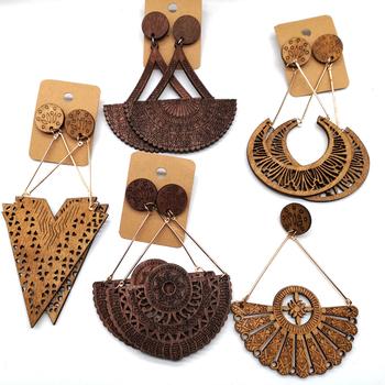 Darmowa wysyłka!! afrykańskie kolczyki drewniane Drop mogą mieszać 5 wzorów tanie i dobre opinie Natural tree Ze stopu cynku wood Spadek kolczyki TRENDY Moda EE-1133 GEOMETRIC Drewna Kobiety
