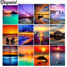 Dispaint Full Square/Round Drill 5D DIY Diamond Painting Twilight scenery sea 3D Embroidery Cross Stitch 5D Home Decor Gift цена