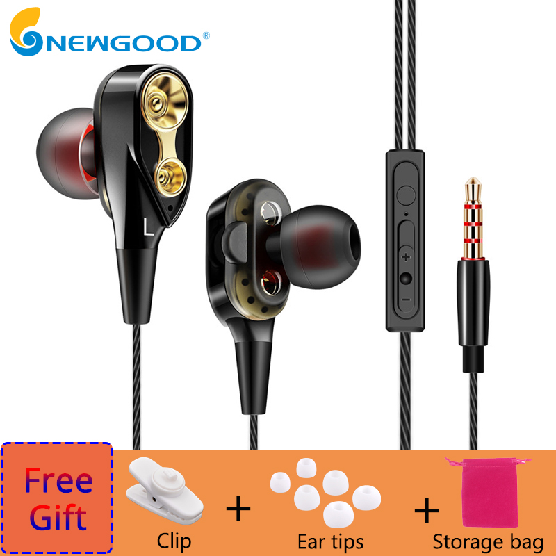 Noise Cancelling Earphones Dual Driver Earphone With MIC Gaming Headset Stereo Earphones With Microphone For Mobile Phone