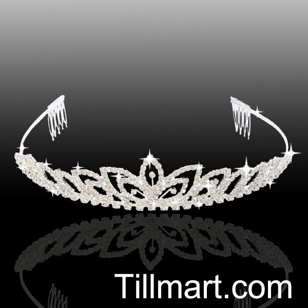 Free shipping on sale High quality Charming Bridal Clover Style Rhinestone Crown Headband Silver