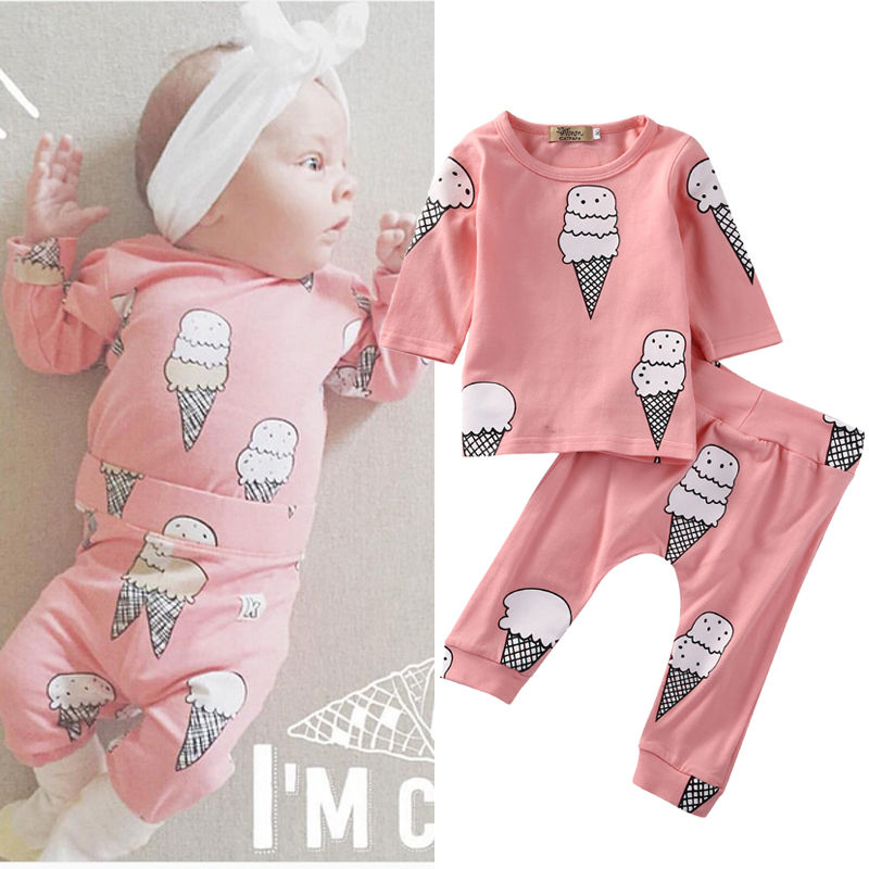 Pink Newborn Baby Girls Clothes Infant Bebes Long Sleeve Ice Cream T-shirt Top +Pant 2PCS Outfit Bebes Clothing Set Tracksuit pink newborn infant baby girls clothes short sleeve bodysuit striped leg warmers headband 3pcs outfit bebek clothing set 0 18m